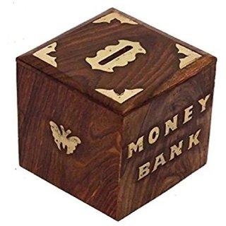 Metalcrafts wooden money box, square shape, 10 cm