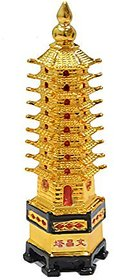 Rebuy Fengshui Polyresin Education Tower for Study Table (6 CM X 6 CM X 15CM, Golden Color)