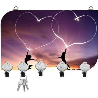Kartik Digital Printed Designer Key Holder 5 Hook Hanging Key Holder Multi-Color Matte Finish for Home Decor & Gift