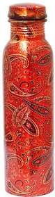 Style Homez Pure Copper Bottle, 1000 ML Handmade Floral Meena Printed Design Joint Free  Leak Proof (Assorted Color)