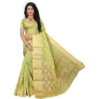 Vaniya enterprise Green Silk Saree