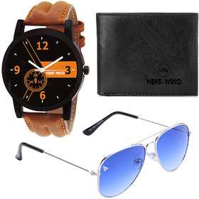 Combo of 3 Wake Wood Black Round Dial Watch With Wallet And Fashion Shades