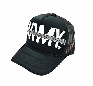 Men Black Army Cap (Half Net)