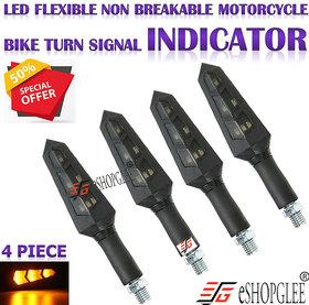 Eshopglee 12V LED Turn Signal Indicator Light 30000 hours Lifespan Universal Motorcycle Bike LED Turn Signal Light (Ambe