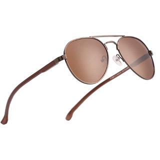Royal Son Sunglasses For Men Women Stylish (Brown Polarized Aviator Unisex Goggles)