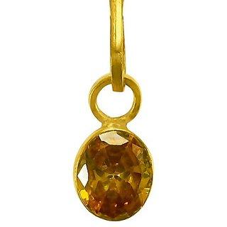 Original Stone 5.25 Ratti Yellow Sapphire Gold Plated Pendant Lab Certified & Effective Stone Pendant By Jaipur Gemstone