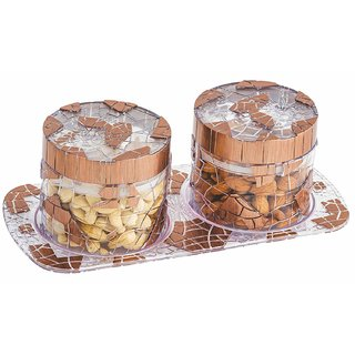 Nucleya Retail Glimmer Airtight Dry Fruit Box 2 Pcs Set with One Tray (Multi Colour )