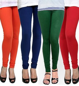 Pack of 4 Lycra Cotton Leggings - Orange/Blue/Green/Red