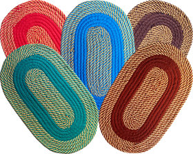 Pack Of 5 SHF Multicolor Cotton Door Mats for Home (33x53 cm)