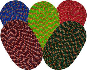 SHF Door Mat cotton for Home Set of 5 piece 35x55 cm multicolor