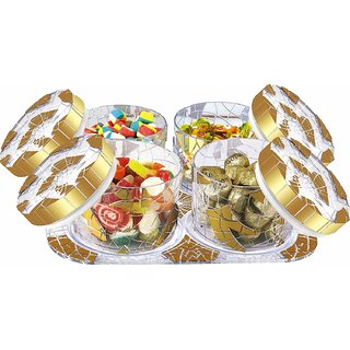 Nucleya Retail Glimmer Airtight Dry Fruit Box 4 Pcs Set with One Tray Gold