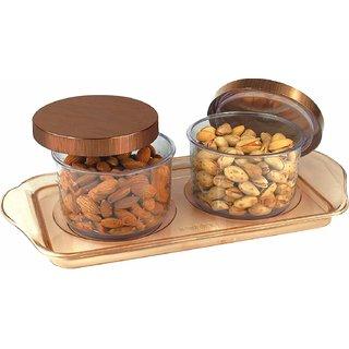Nucleya Retail 2 Pcs Airtight Dry Fruit Set Box Serving Tray Storage