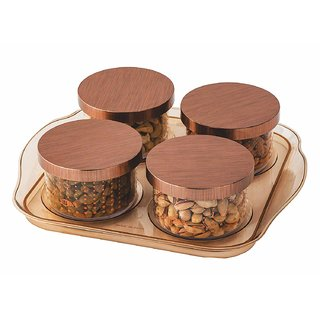 Nucleya Retail 4 Pcs Airtight Dry Fruit Set Box Serving Tray Storage Container Brown