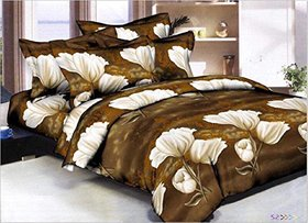 Floral 3D Print Brown Polycotton Double Bedsheet With 2 Pillow cover - (254 x 229 cm)