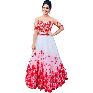 Designer Red and White Colour  Net Material Wedding, Party,And Fastival Wear Lehengha choli For Women(WhitePari)
