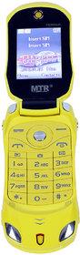 MTR FARARI CAR SHAPED FLAP MOBILE PHONE,DUAL SIM, 800 MAH BATTERY, CAMERA, BLUETOOTH, BIG SOUND, FM  IN YELLOW COLOR