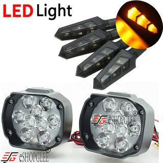 ESHOPGLEE Motorcycle / Bike LED Headlight 9 LED Fog Spot Light 2Pcs + 4Pcs DUK Motorcycle Bike LED Turn Signal Indicator