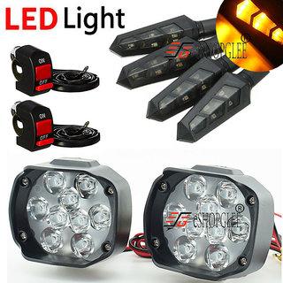 ESHOPGLEE Motorcycle / Bike LED Headlight 9 LED Fog Spot Light 2Pcs + 4Pcs DUK LED Turn Signal Indicator + 2 Swiches