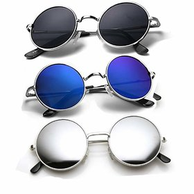 Ivy Vacker Black Blue  Silver Mirrored Medium Full Rim Round Metal Unisex Sunglasses - Pack Of 3