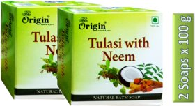 Thulasi with Neem Soap Extra premium quality  Pack of 2 Soaps x 100g