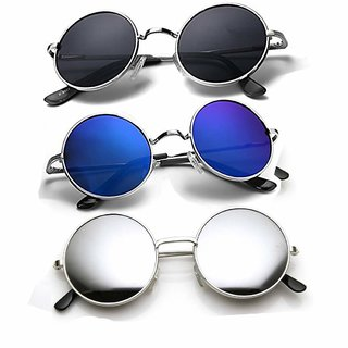 Ivy Vacker Black Blue & Silver Mirrored Medium Full Rim Round Metal Unisex Sunglasses - Pack Of 3