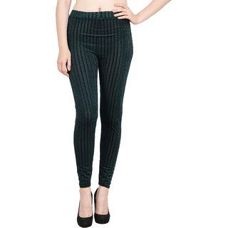 Aiyra Women's Stylish Green Zigzag Legging