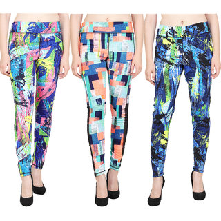 Aiyra Women's Printed Leggings (MulticolorSmall) Pack Of 3