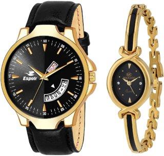Espoir Analog 18K Gold Plated Black Dial Couple Watch - MixRikon+ShrutiHassanGold