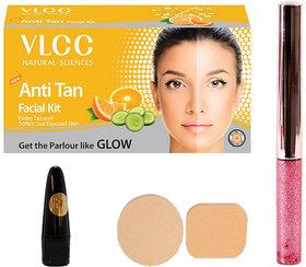 Half N Half Glitter Eyeliner, VLCC Anti Tan Facial Kit, Lead Free Kajal  Cosmetic Puff (Combo 4)
