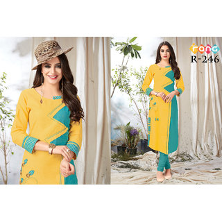bhavna creation's yellow coloured khadi cotton designer kurti