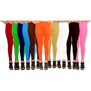 Leggings Combo Pack of 10 Free Size Soft Smooth Fabric (Wholesale Price in Retail)
