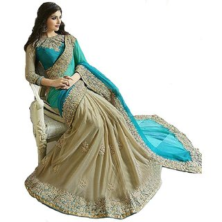 TexStile sarees womens Party wear Designer Sarees with Blouse Pieces(Sargam Cyan sari)