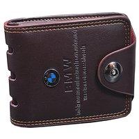 Y GREEN Men's Pu Brown Bi-fold Wallet