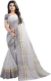Ruchika Fashion Striped LinenHandloom Cotton Linen Blend Saree  (Off-White)