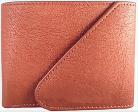 Friends  Company Tan Casual Pure Leather Tri-Fold Wallet For Men
