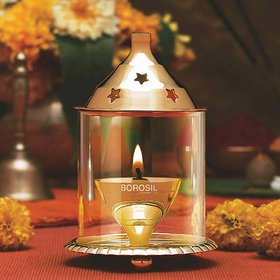 Decorate India Small Brass Akhand diya with Borosil Glass 4 inch