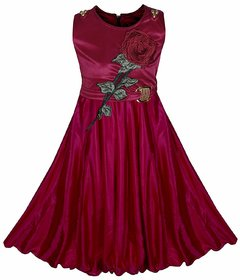 Clobay Maroon Party wear dress for girls