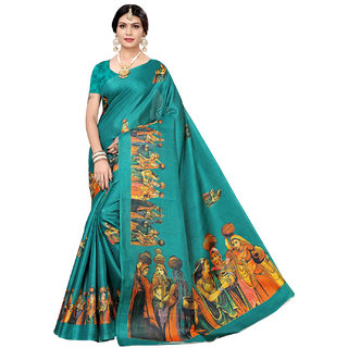 Swaron Turquoise Art Silk Printed Saree with Unstitched Blouse