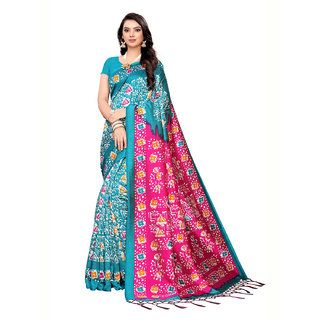 Swaron Turquoise Poly Silk Printed Saree with Unstitched Blouse