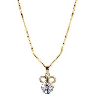 Gold Plated chain With  Bow Shape Pendant For Women