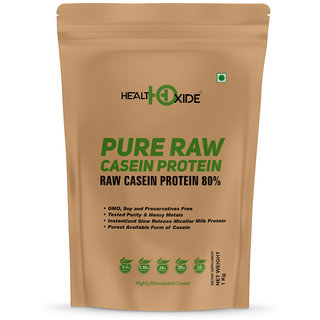 HealthOxide Pure Raw Micellar Casein Protein 80 (Raw  Unflavored / 24 G Protein Per Serving)  1 Kg