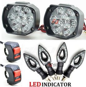 Eshopglee Universal 2 Pcs 9 LED Spot Fog Headlight with 4 Pcs Duke Bike LED Turn Signal Indicator with 2 ON/Off Switch