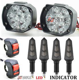 ESHOPGLEE Motorcycle Bike LED Headlight FOG LIGHT 9 LED 2 PCS + 2 ON/OFF SWITCH + 4 PCS DUK INDICATOR LIGHT