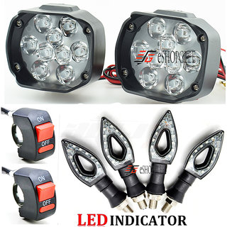 Eshopglee Universal 2 Pcs 9 LED Spot Fog Headlight with 4 Pcs Duke Bike LED Turn Signal Indicator with 2 On-Off Switch