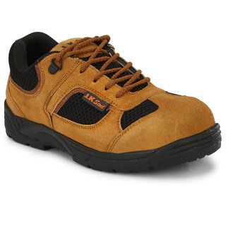 JK Steel Men's Tan Leather Casual Safety Shoes