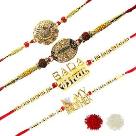 Exclusive Raksha Sutra Rakhi Collections for Brother Pack Of 4 with Roli Chawal