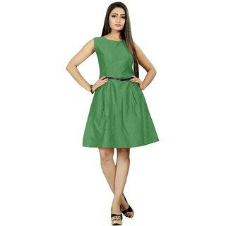 Trendz Creation Taffeta Silk Dress with Belt for Women and Girls