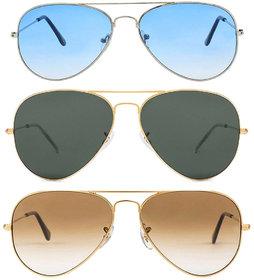 Adam Jones Combo of 3 Aviator Sunglasses