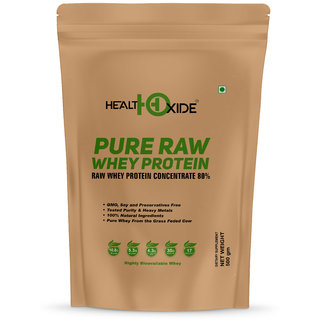 HealthOxide Whey Protein 80 (Raw  Unflavored / 27 G Protein per Serving)  500 Gm