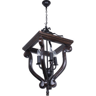 Fos Lighting Coastal 4 Light Stained Wood and Wrought Iron Foyer Pendant Light